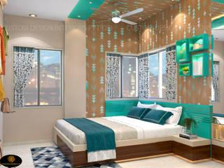 Mrs. Saha's Daughter Modern Bedroom | Kolkata, West Bengal | Custom Design Interiors CUSTOM DESIGN INTERIORS PVT. LTD. Modern style bedroom Metal Green
