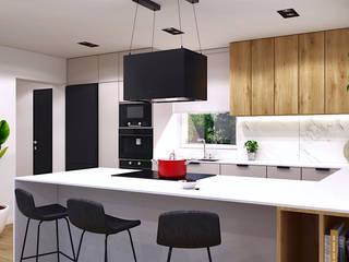 Wnętrza domu pod Rzeszowem MACZ Architektura - Architekt wnętrz Rzeszów Kuchnia na wymiar Drewno Beżowy