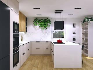Wnętrza domu pod Rzeszowem MACZ Architektura - Architekt wnętrz Rzeszów Kuchnia na wymiar Marmur Biały