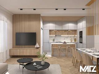 Mieszkanie w kamienicy MACZ Architektura - Architekt wnętrz Rzeszów Klasyczny salon Drewno Beżowy