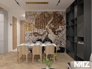 Mieszkanie w kamienicy MACZ Architektura - Architekt wnętrz Rzeszów Klasyczna jadalnia Srebro/Złoto Złoty
