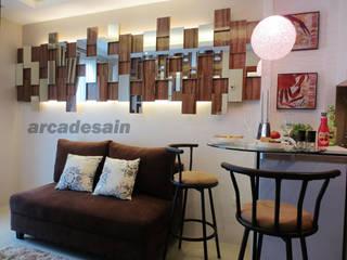 Desain Interior Apartemen Woodland Park Kalibata tipe 1 bedroom 40 m2 Arcadesain Ruang Keluarga Minimalis Kayu Lapis Multicolored