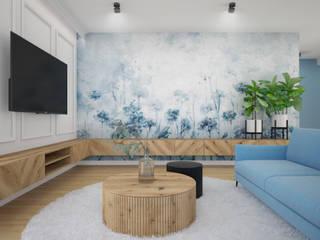 Nevi Studio Ruang Keluarga Modern Turquoise