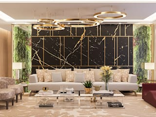 Camila Pimenta | Arquitetura + Interiores Salas de estilo moderno Mármol Negro