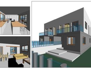 Construcción de vivienda pareada con piscina en MALLORCA - MARRATXÍ   VISTA 3D -1 BONFILL INGENIERÍA, ARQUITECTURA Y PAISAJE S.L. Casas adosadas Hormigón Blanco