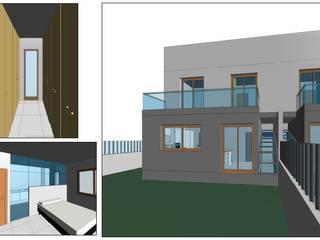Construcción de vivienda pareada con piscina en MALLORCA - MARRATXÍ   VISTA 3D -2 BONFILL INGENIERÍA, ARQUITECTURA Y PAISAJE S.L. Casas adosadas Hormigón Blanco