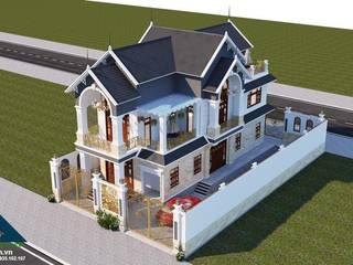 Công ty Kiến trúc Á Âu Casas de estilo asiático Concreto Blanco