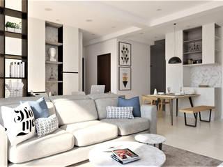 住宅空間規劃設計 品凡室內設計 现代客厅設計點子、靈感 & 圖片 White