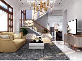 Công ty Kiến trúc Á Âu Living roomLighting Wood Brown