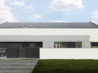Jednorodzinny dom typu nowoczesna stodoła na łódzkim Złotnie Budownictwo i Architektura Marcin Sieradzki - BIAMS Willa Beton Biały