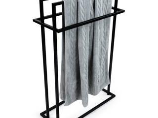 Stalowy stojak na ręczniki Szymon – czarny Zabawa w Dom ŁazienkaSzafki i półki łazienkowe Żelazo/Stal Czarny