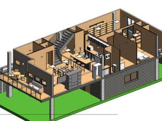 Casa de dos pisos en terreno de 16 x 16 m de Ingeniería IS21