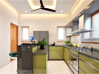 Monnaie Interiors Pvt Ltd KitchenCabinets & shelves Wood Wood effect