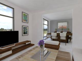 Casa Marín Arqternativa Salones modernos Derivados de madera Blanco