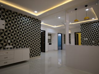 3BHK Vajra Jasmine County | Interior Design Project in Hyderabad Modern living room by Enrich Interiors & Decors Modern