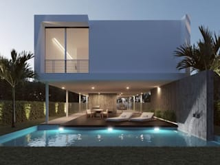 Pool with Garden Abodde Luxury Homes Piscines naturelles Béton armé Blanc