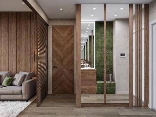 Студия архитектуры и дизайна Дарьи Ельниковой ミニマルスタイルの 玄関&廊下&階段