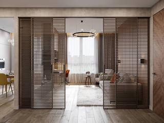 Minimalist corridor, hallway & stairs by Студия архитектуры и дизайна Дарьи Ельниковой Minimalist