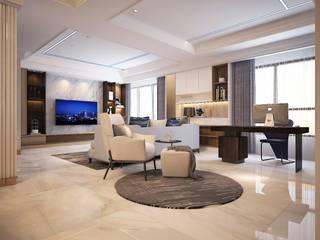 群築室內裝修設計有限公司 Salon moderne Blanc