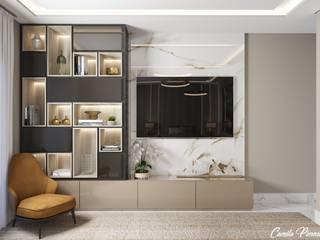 Camila Pimenta | Arquitetura + Interiores Cuartos pequeños Madera Beige