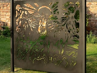 The Running Horses Design Patio screen or Fence panel -part of Equestrian Collection Logi Engineering Limited Garden Fencing & walls Iron/Steel Black