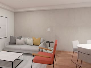 Mirá Arquitetura Modern Living Room Wood Grey