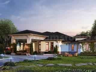 Modern House with large Garden 3d exterior rendering services by Architectural Visualisation Studio, Dezful - Iran de Yantram Architectural Design Studio Corporation Moderno