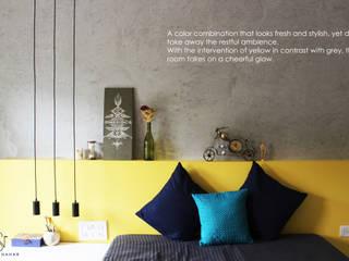 Saniya Nahar Designs Kamar tidur kecil Parket Yellow
