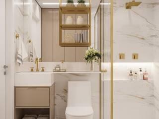 Giovanna Romero Arquitetura e Interiores Kamar Mandi Modern Marmer White