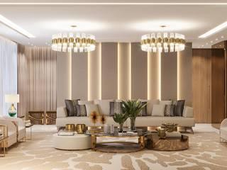 Camila Pimenta | Arquitetura + Interiores Salas de estilo moderno Mármol Beige