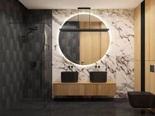 Projekt czarnej łazienki MACZ Architektura - Architekt wnętrz Rzeszów Nowoczesna łazienka Kamień Czarny
