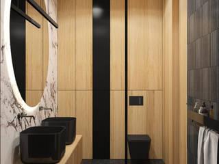 Projekt czarnej łazienki MACZ Architektura - Architekt wnętrz Rzeszów Nowoczesna łazienka Płytki Czarny