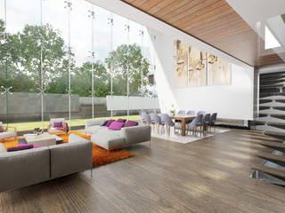 emARTquitectura Arte y Diseño Ruang Keluarga Modern