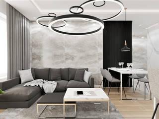 Wkwadrat Architekt Wnętrz Toruń Living room Marble Grey