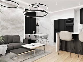 Wkwadrat Architekt Wnętrz Toruń Living room Stone Black