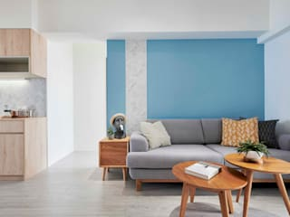 酒窩設計 Dimple Interior Design Minimalist living room Engineered Wood Blue
