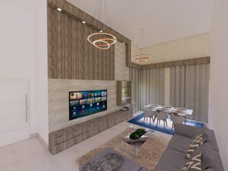 现代客厅設計點子、靈感 & 圖片 根據 Monteiro arquitetura e interiores 現代風