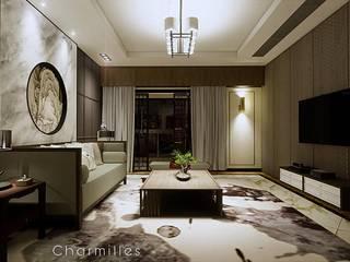 式 中國風 米爾空間設計 Living room Marble Brown