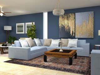 Mereki Studio Modern living room Blue