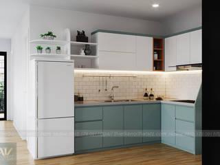 Thiết kế nội thất chung cư 54m2 2pn tại Vinhomes Smart City 79 triệu Công ty nội thất ATZ LUXURY Nhà bếp phong cách hiện đại