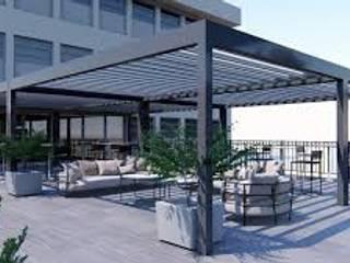 Bioclimatic Pergola / Rolling Roof Pergola İNORMA YAPI SİSTEMLERİ Modern Kış Bahçesi Aluminyum/Çinko Metalik/Gümüş