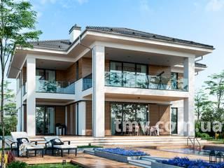 Просторный двухэтажный коттедж с террасой и гаражом от TMV Architecture company