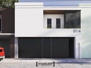 Modulor Arquitectura Casas de estilo minimalista Hormigón Blanco
