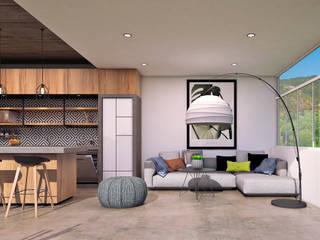 Bungalow Huayapam Salones modernos de ARQUITECTOS AJ Moderno