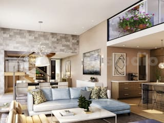 Modern & Innovative Residential living Area 3D Interior Modeling by Architectural Rendering Company, Moscow - Russia モダンデザインの リビング の Yantram Architectural Design Studio モダン