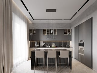 Hitech minimalism 80m2 Decor-Stil-Grup Moderne Esszimmer Grau