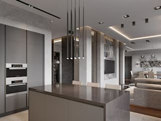 Hitech minimalism 80m2 Decor-Stil-Grup Moderne Esszimmer