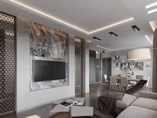 Hitech minimalism 80m2 Decor-Stil-Grup Moderne Wohnzimmer