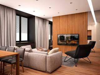 现代客厅設計點子、靈感 & 圖片 根據 ООО 'Студио-ТА' 現代風