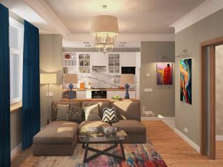 1 комнатная квартира в Коммунарке STUDIO 57 Гостиная в скандинавском стиле